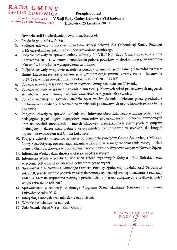 V Sesja Rady Gminy Łukowica